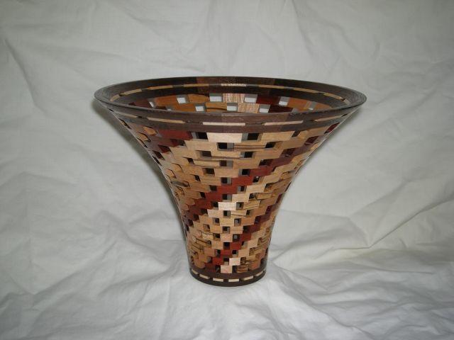 "Flared Mouth Vase. 8-1/2""D x 6-1/4""H, Walnut, Zebra, Maple, Cherry, Paduak"