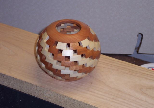 """My first """"Open"""" segmented turning. Cherry, Maple"""